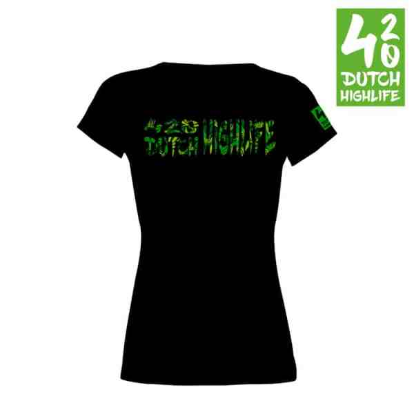 420 Dutch Highlife T-shirt Big Weed dames achterkant