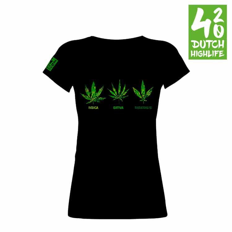 420 Dutch Highlife T-Shirt: Triple weed Dames