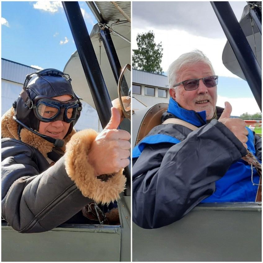 Besøk på Kjeller gav anledning til en flytur med Tiger Moth for Elvenes og Toskedal