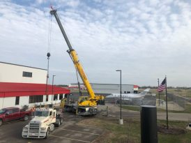The Hawker 700 monument ready to be lifted to its final location