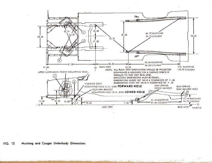 '68 MUSTANG CHASSIS MEASUREMENTS ALIGNMENT DOCUMENT PDF FILE