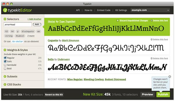 Typekit Web Font Editor
