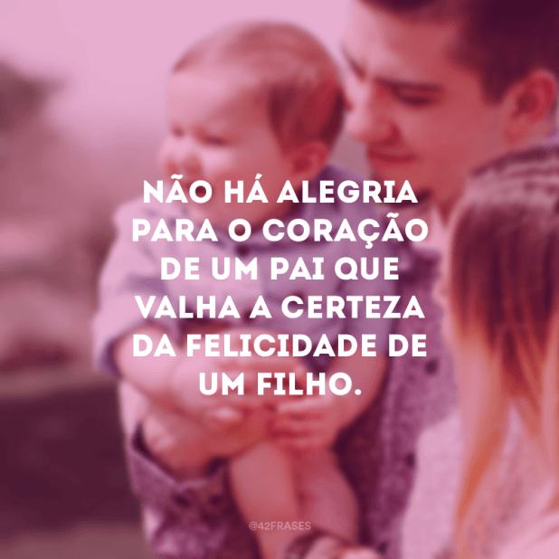 Não há alegria para o coração de um pai que valha a certeza da felicidade de um filho.