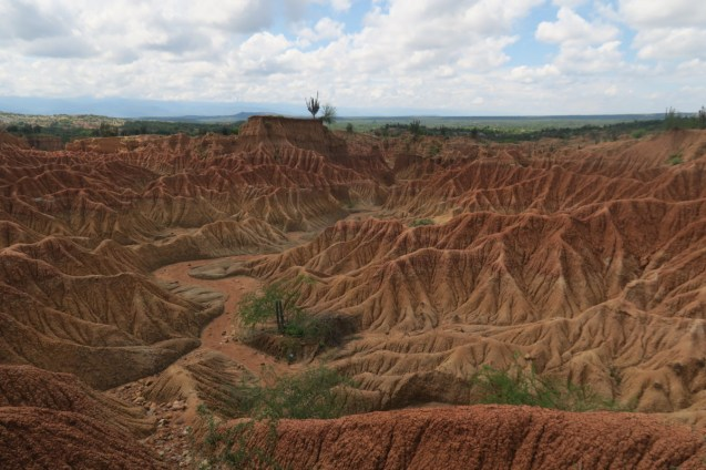 """The small and iconic red clays of the Tatcoa's """"Red Region""""."""