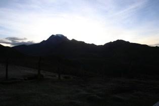 Sun sets over el Nevado de Tolima.