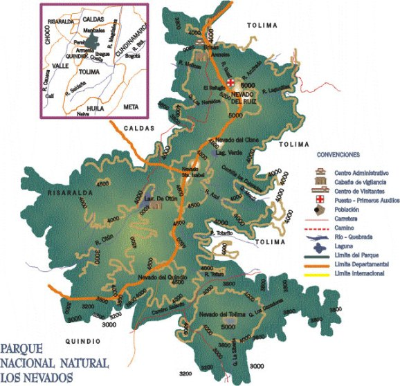 Slightly more detailed map from http://www.colombia.com/colombiainfo/parquesnaturales/nevados.asp