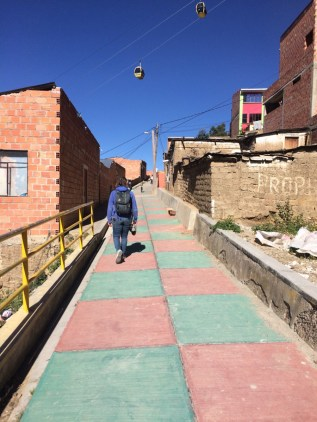 Jordan explores one of La Paz's more (only) colorful areas.