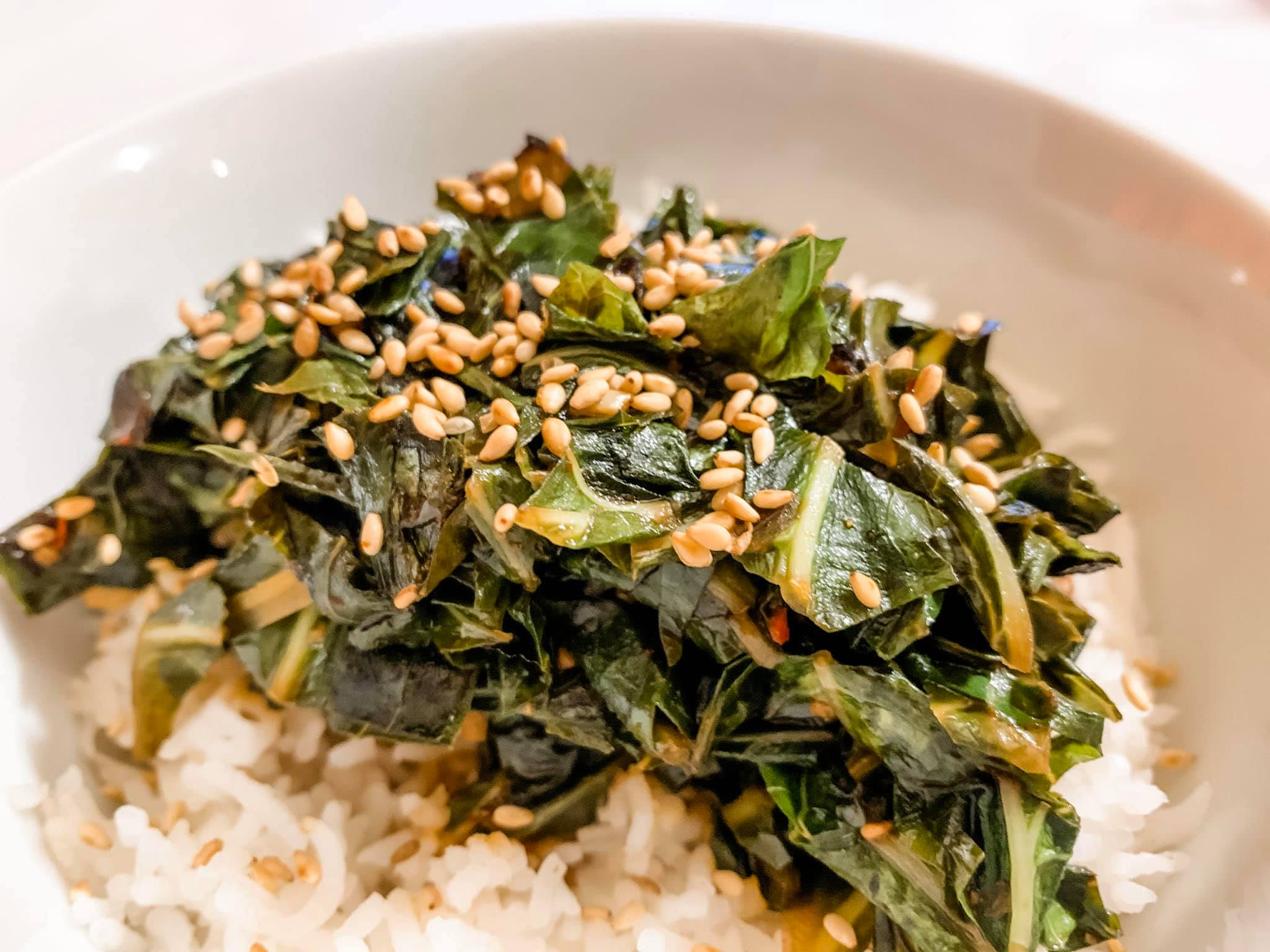 Recipe: Sesame Ginger Collard Greens