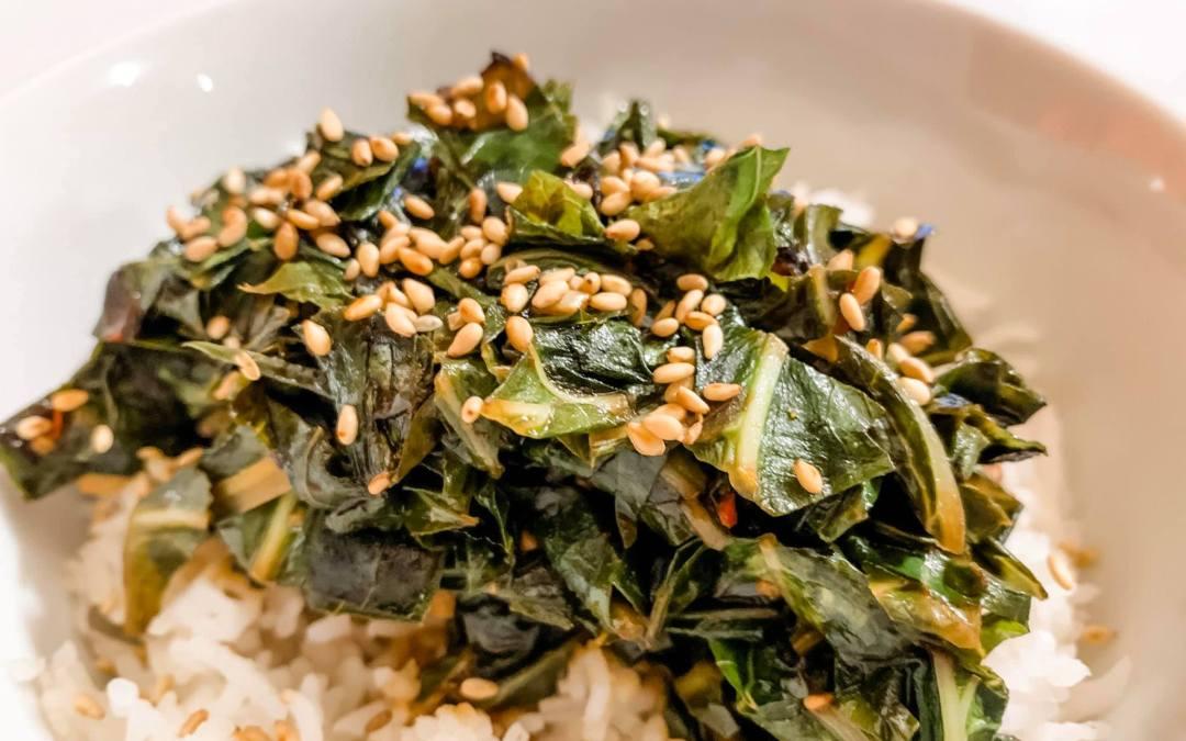Recipe: Sesame Ginger Collard Greens
