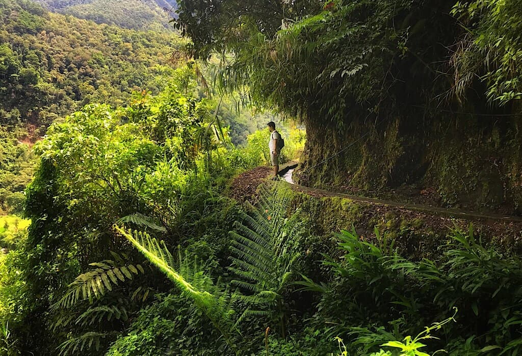Trin standing on the edge of an irrigation canal in Banaue Philippines