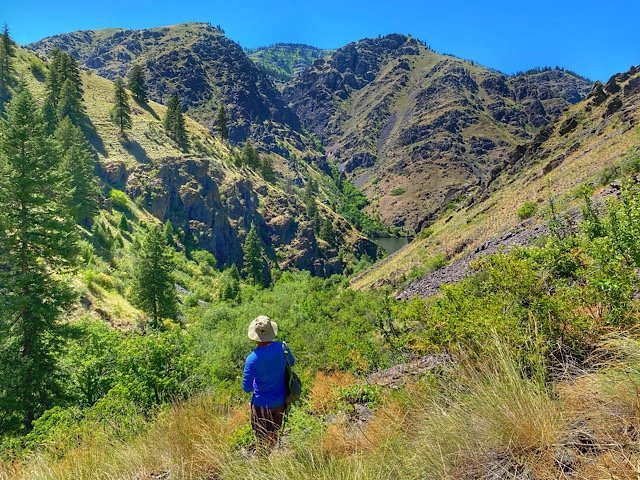 Trin on a trail in Hell's Canyon