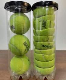 Tennis balls illustrating a goal achieved that missed the purpose.