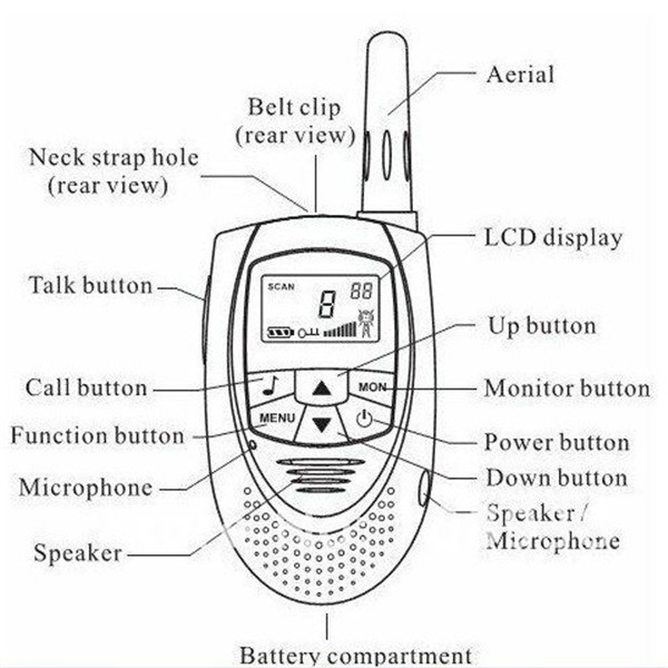 Walkie Talkie T-228 License-Free PMR446 Multi-Channels