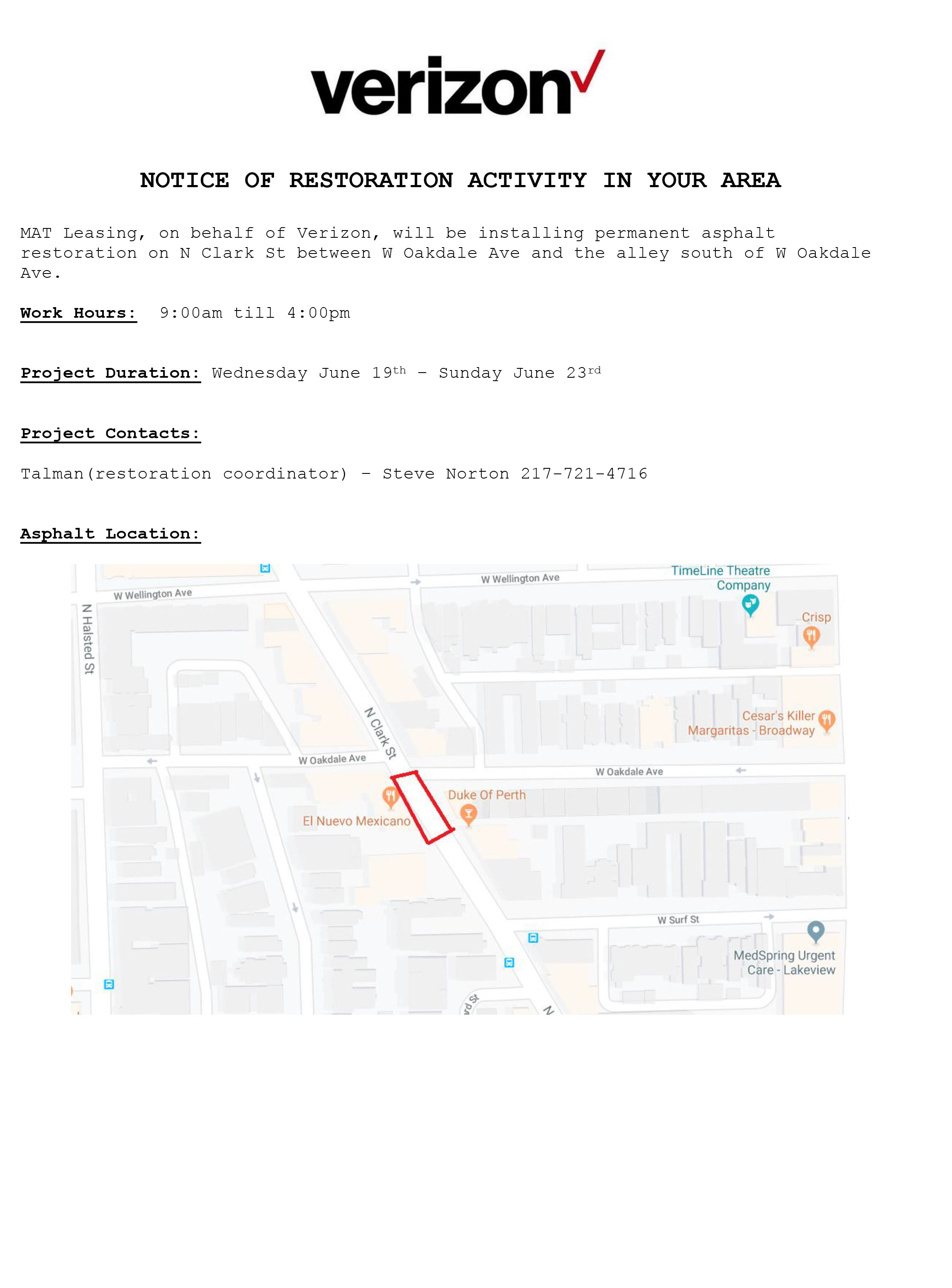 Ward 44 Restoration Notice