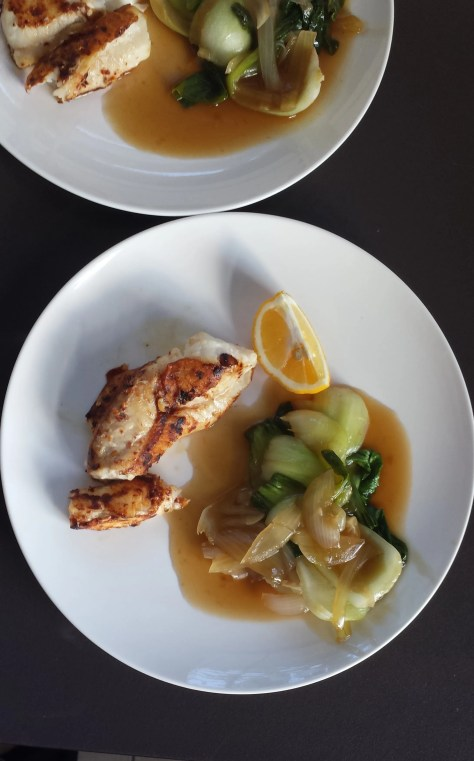 Monk Fish with Bok Choy
