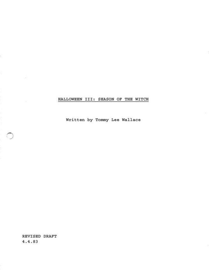 Halloween III: Season of the Witch (1982) - Revised Draft