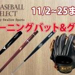【ベースボールセレクト】11月イベントのお知らせ!トレーニングバット、トレーニンググラブ大集合!