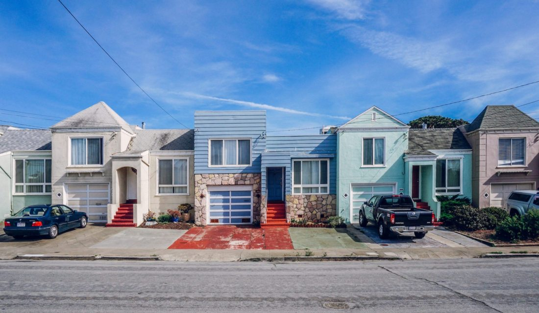 Three of Doelger's Freedom style homes file along a street in the Outer Sunset. Photo: Kyle Legg, 49Miles.com.