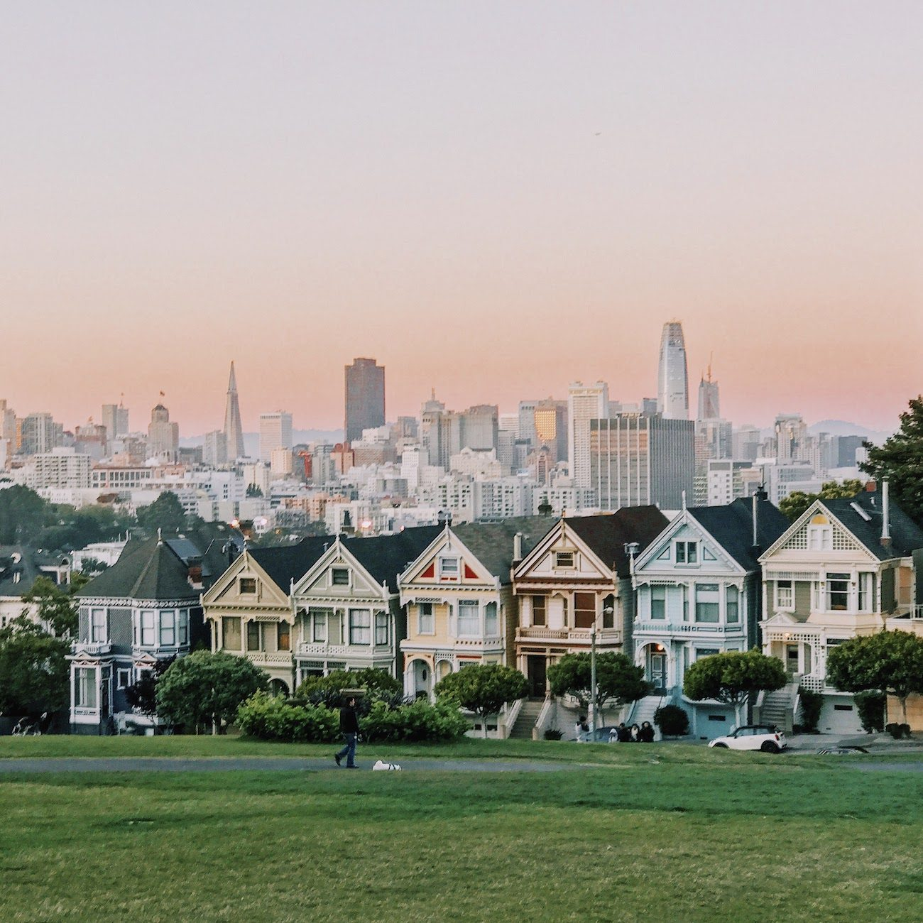 Sunset over Alamo Square Park.