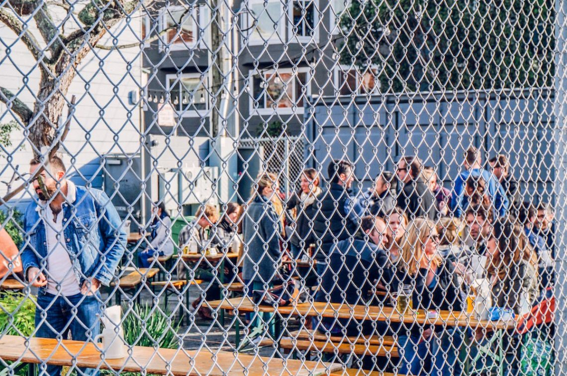 The Biergarten in Hayes Valley is perfect for hot Indian Summer days and nights.