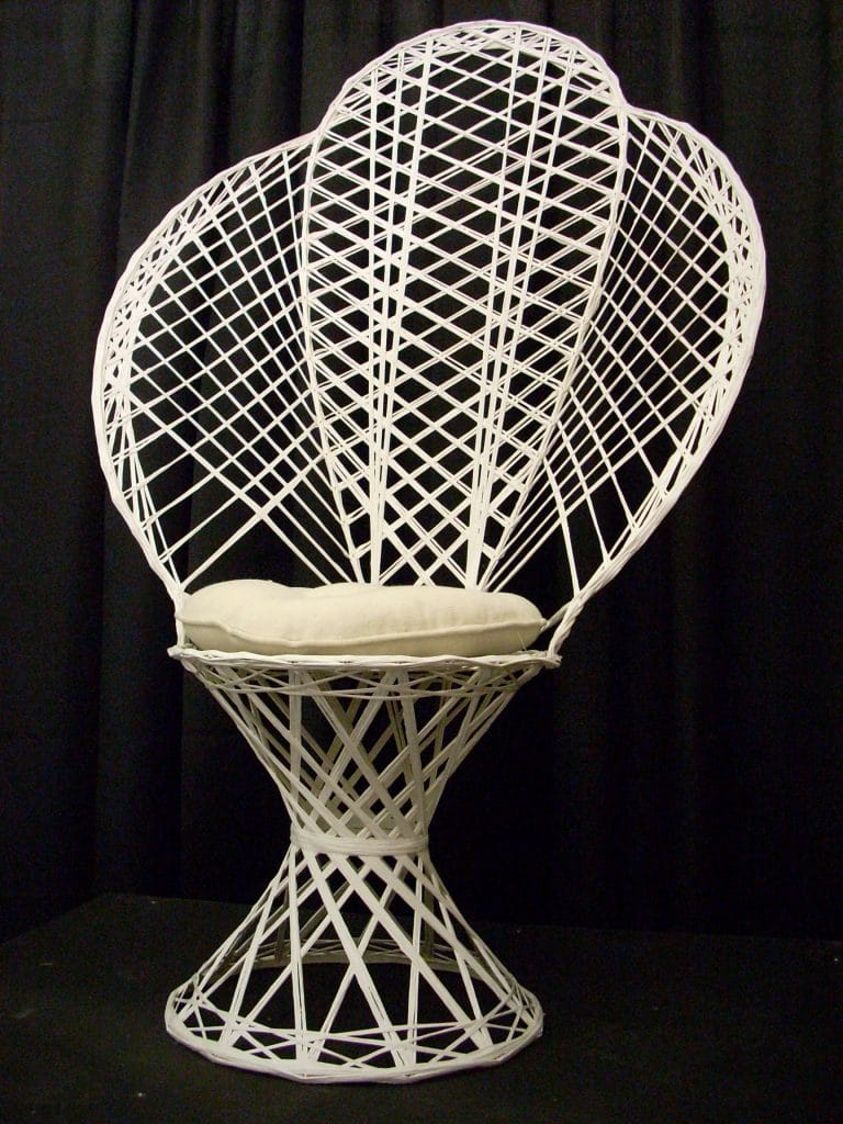 fan back wicker chair round folding lawn chairs maryland wedding rental dc table and white fanback w cushion
