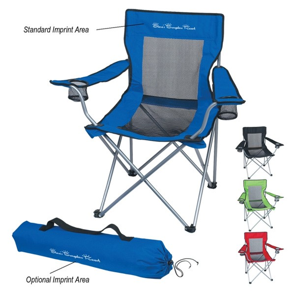 Mesh Personalized Promotional Portable Folding Chair Promo