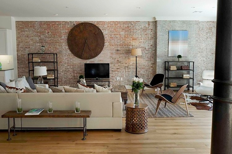 new york loft style living room interior colour ideas glamorous apartment in city urban vintage and modern design