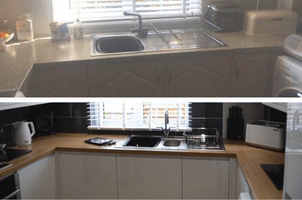 Before and after kitchen remodels with prices.