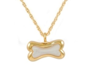 Gold Bone With Mother of Pearl Pendant
