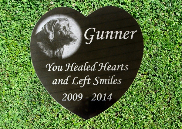 Photo Engraved Black Granite Heart Memorial