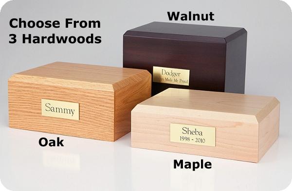 Traditional Hardwood Pet Urn Choose Oak, Walnut or Maple