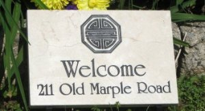 Small Vanilla Marble Address Marker