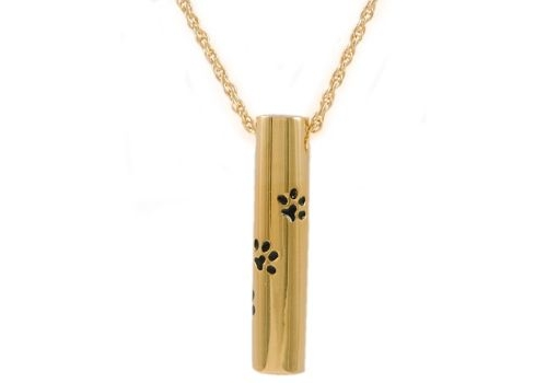 Gold Cylinder With Paws Pendant