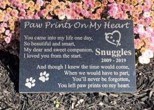 Paw Prints On My Heart Granite Memorial