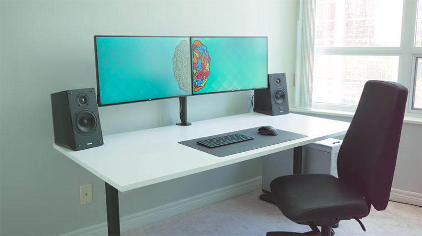 sit stand chair amazon office mat target the ultimate dual monitor desk setup for your creative workflow | 4k shooters
