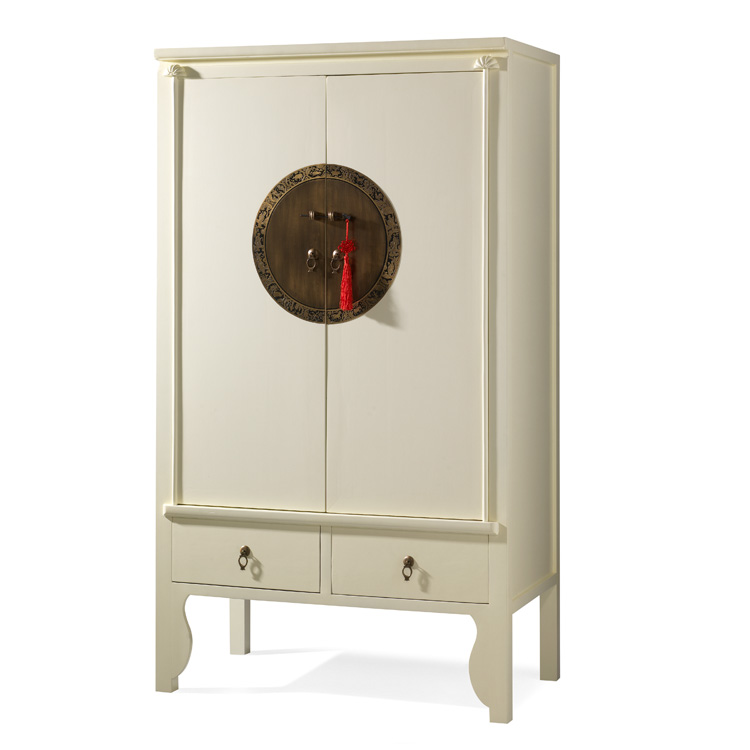 Cream Lacquer Chinese Style Wardrobe  Wedding Cabinet  4