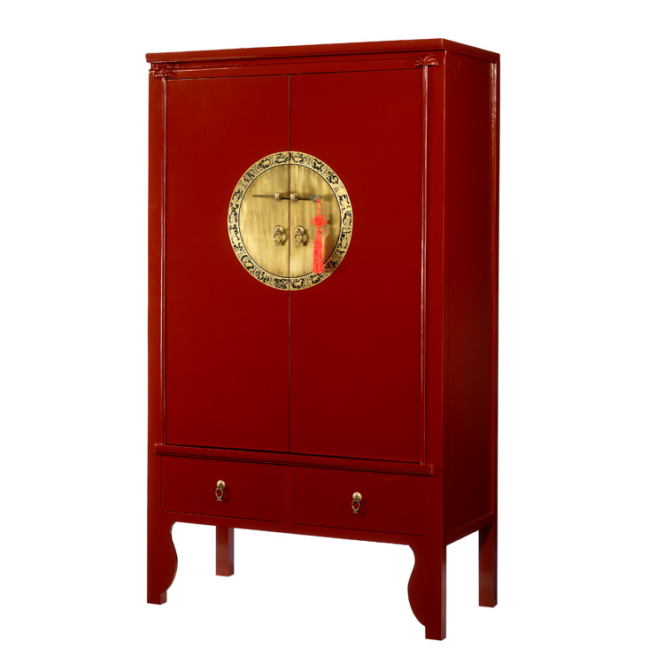 Red Lacquer Chinese Style Wardrobe  Wedding Cabinet  4
