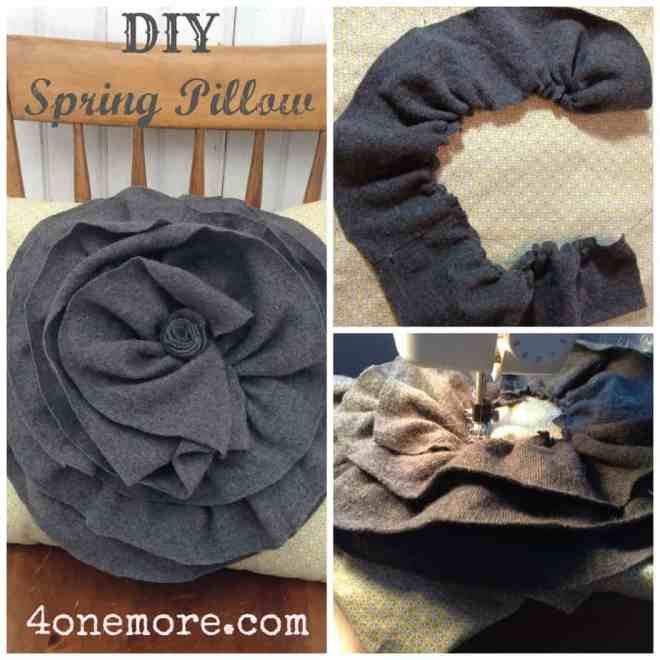DIY Spring Floral Pillow using an up cycled sweater l 4onemore.com