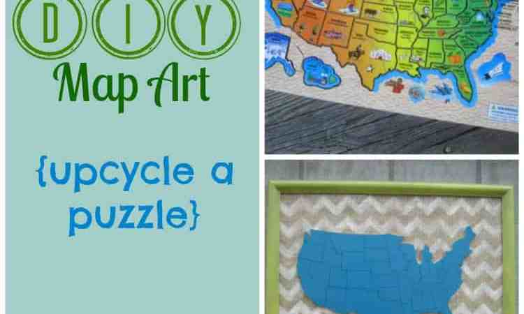 DIY Map Art:  Upcycle a Puzzle