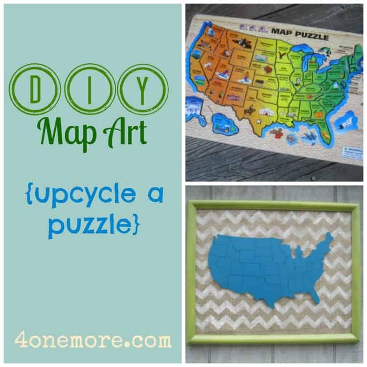 DIY map art @4onemore.com