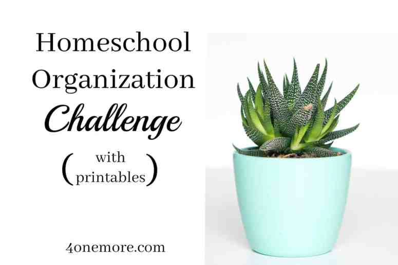 Overwhelmed with all the clutter? Join the homeschool organization challenge and get your whole home {and homeschool} organized! Complete with printables. #homeschool #organization @4onemore.com