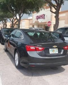Foto do carro, é da cor cinza, estilo Sedan, está embaixo de uma árvore