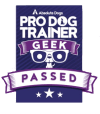 pro dog trainer geek certificate logo