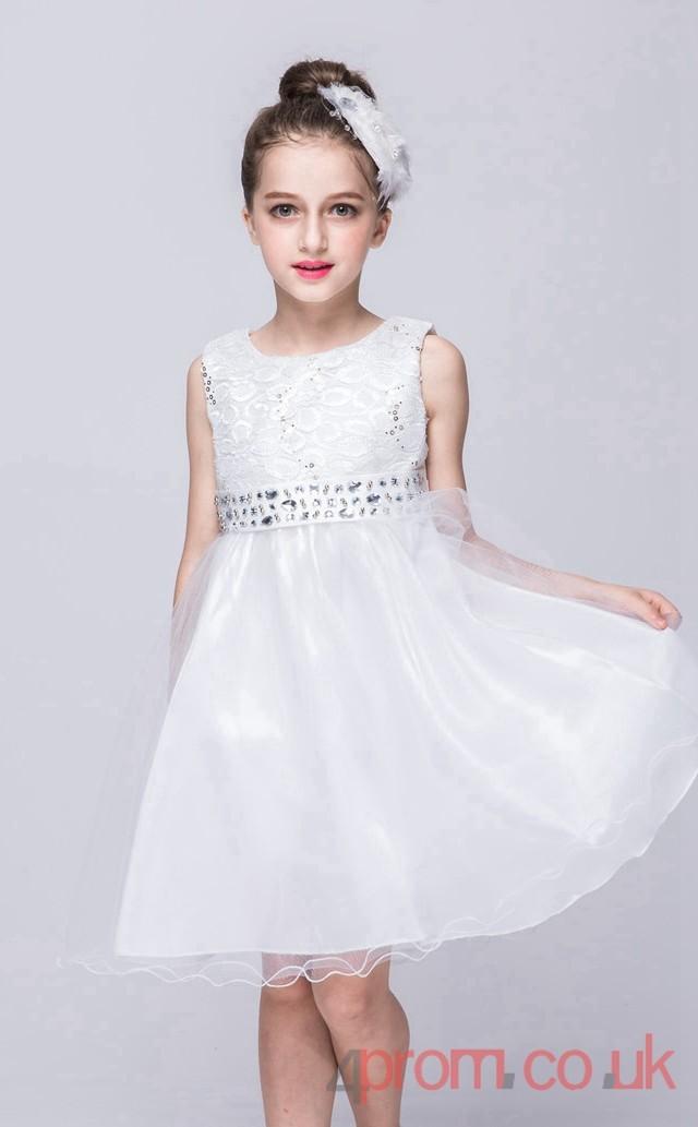 Ivory LaceOrganza Aline Jewel ShortMini Childrens Prom DressFGD263  4promcouk