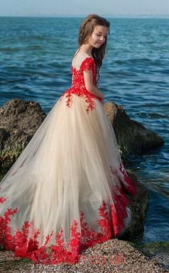 Illusion Short Sleeve Red Kids Prom Dresses CHK023