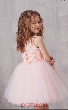 Blushing Pink Tulle Lace Jewel Sleeveless Mini Princess Children's Prom Dress (FGD300)