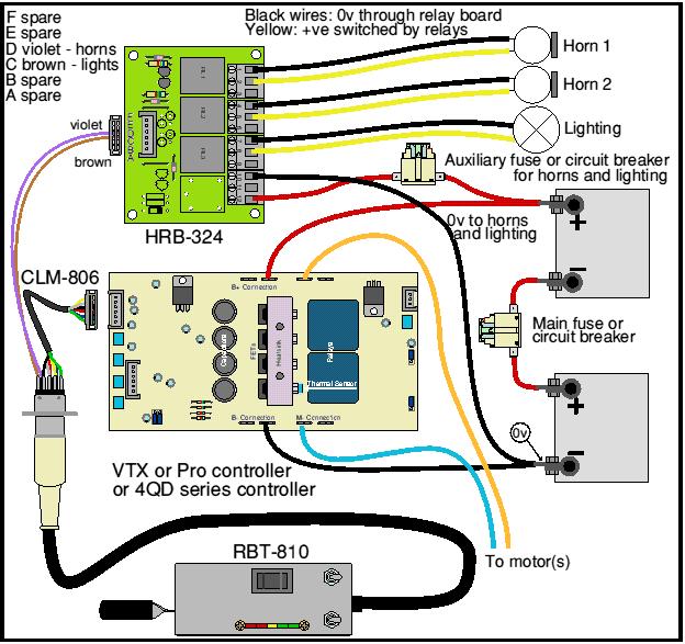 Loco Wiring Hand Control & Horn Relay Board 4QD Electric