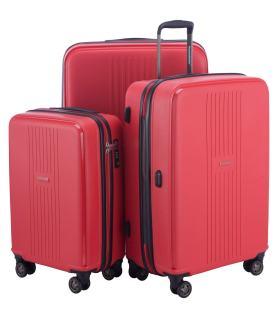 Drei Hartschalenkoffer in Rot