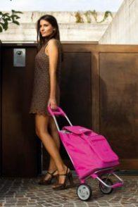 Hübsche Frau mit pinkem Einkaufstrolley