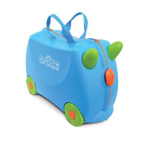 Blauer Kinderkoffer zum Sitzen